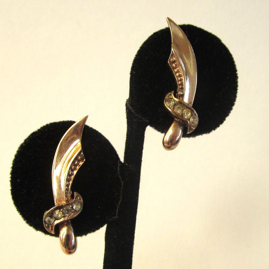Sterling Silver Rhinestone Sword Earrings