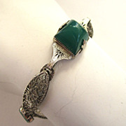 Art Deco Filigree Green Glass Bracelet