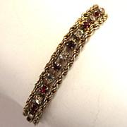 Gold-Tone Rope Twist Rhinestone Bracelet