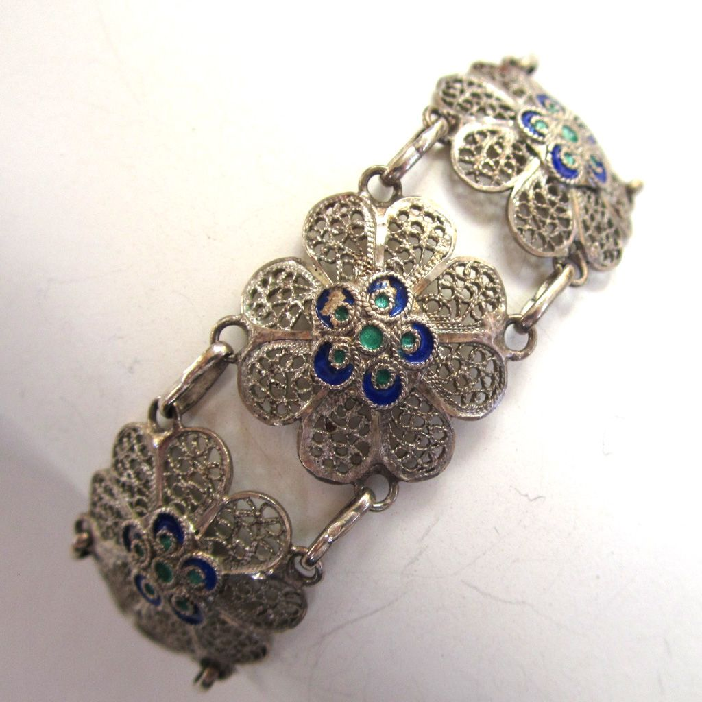Blue and Green Vintage Filigree Floral Bracelet