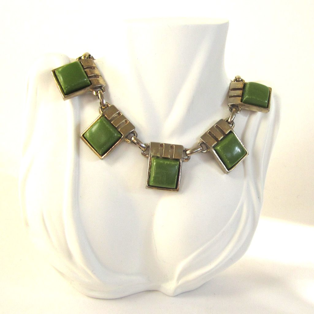 Green Lucite Silver-Tone Architectural Choker