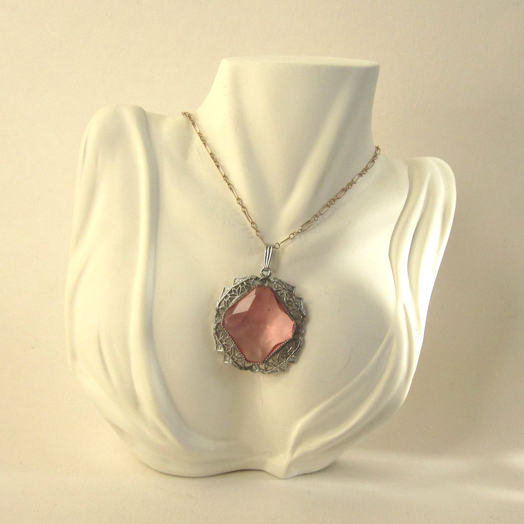 Art Deco Filigree Pink Glass Pendant/Necklace