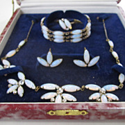 Faux Moonstone Full Parure: Necklace/Bracelet/Earrings/Ring in Original Box