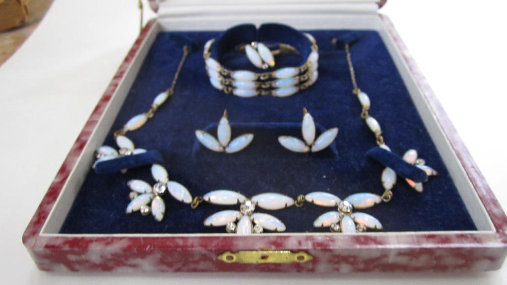 Faux Moonstone Full Parure: Necklace/Bracelet/Earrings/Ring in Original Box