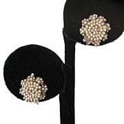 14K Victorian Seed Pearl Floral Earrings