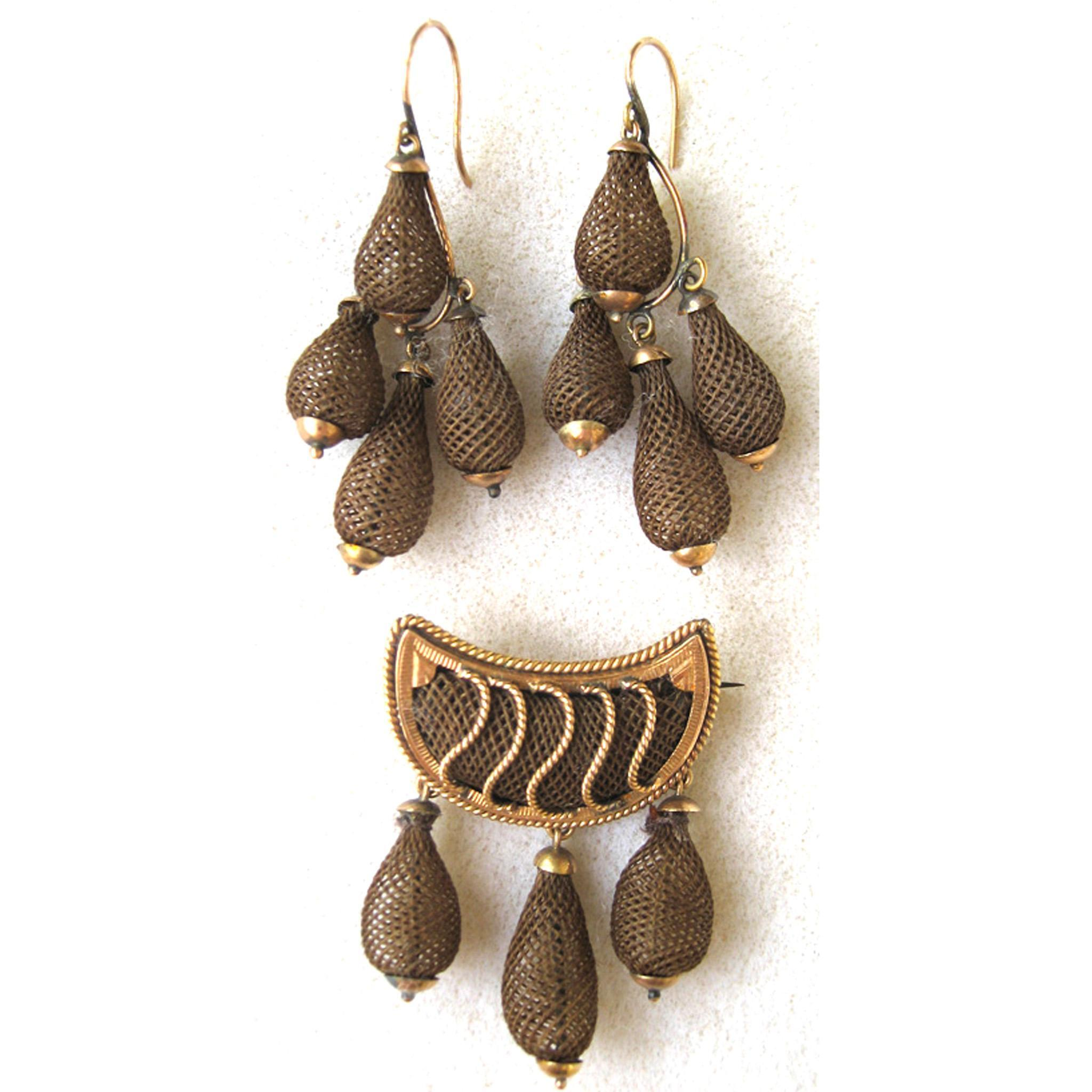 Victorian 14K Yellow Gold Hair Jewelry Set: Brooch/Pin Earrings