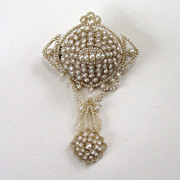 Victorian 14K Seed Pearl and Horsehair Brooch/Pin