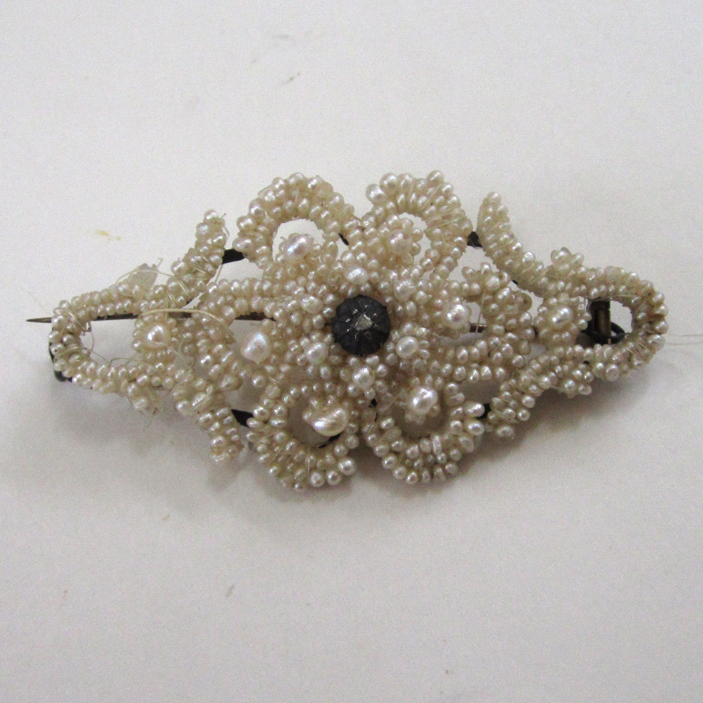 Victorian Seed Pearl and Diamond Brooch/Pin