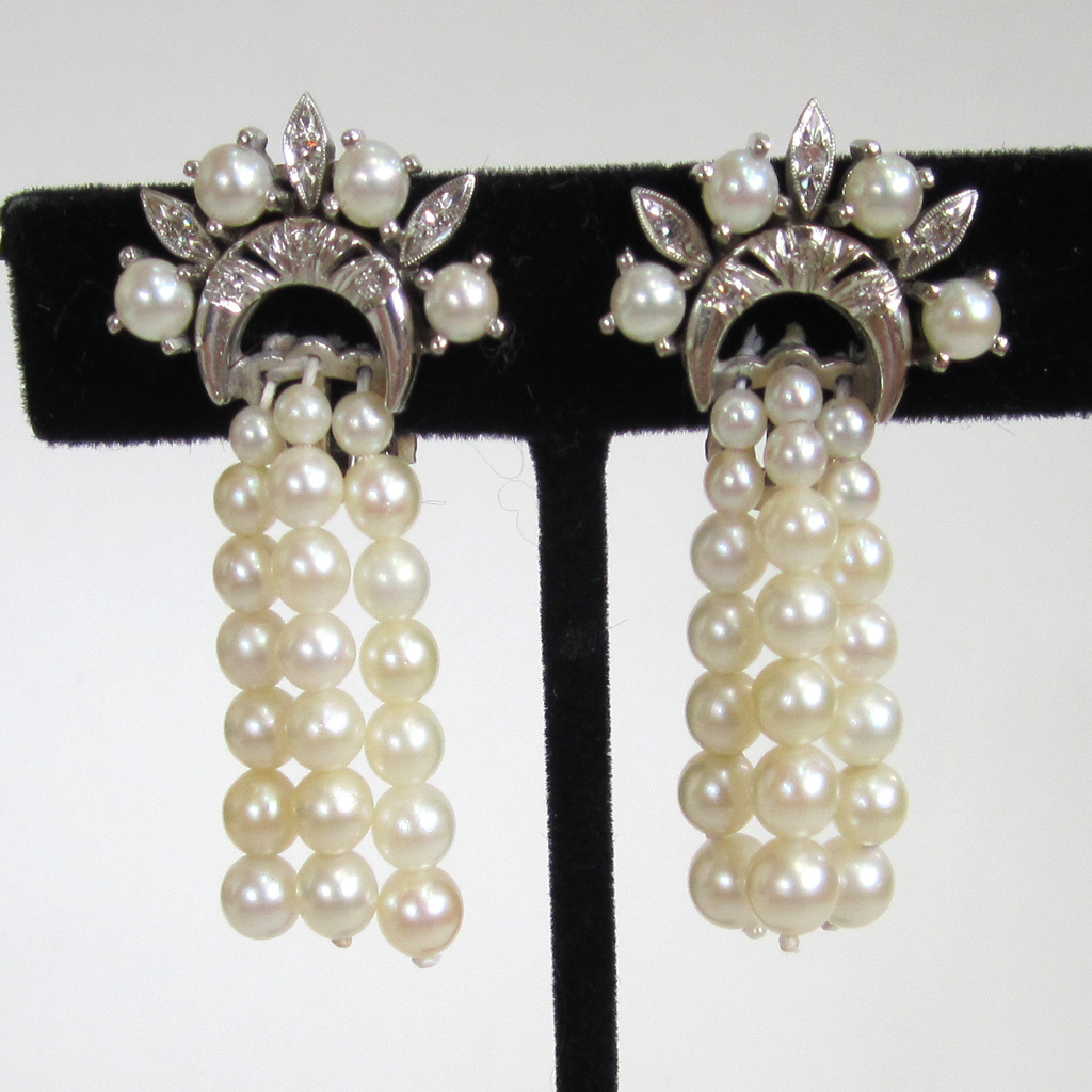 14K White Gold, Diamond and Cultured Pearl Earrings