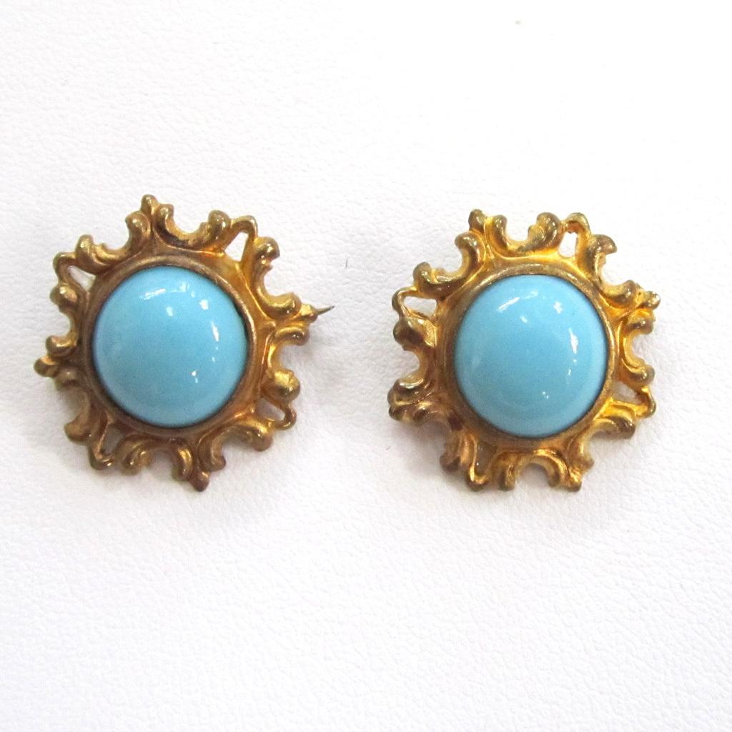 Matching Circa 1900 Gilt Persian Turquoise Brooches/Pins