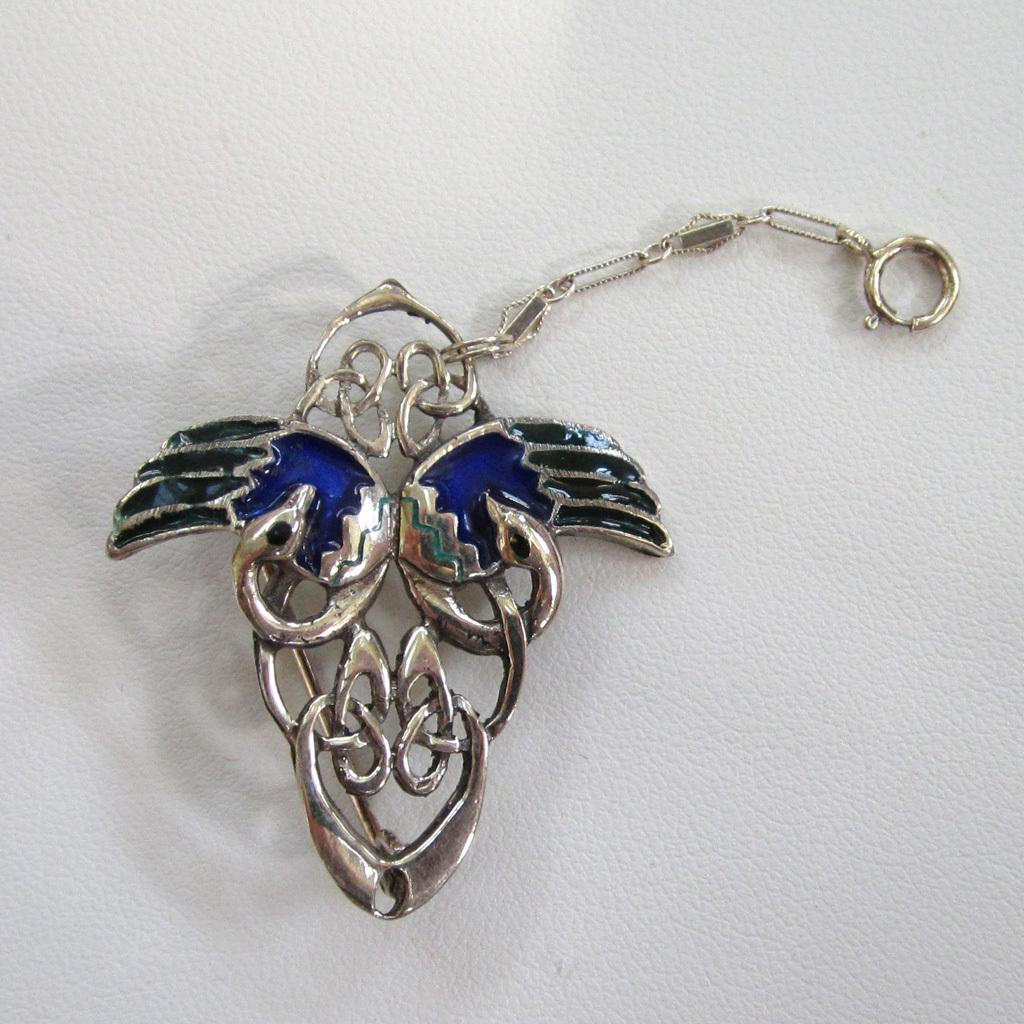 Sterling Silver Enamel Peacock Brooch/Pin
