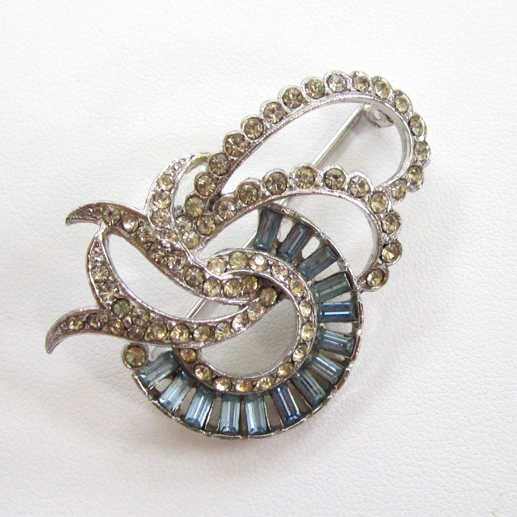 Silver-Tone Blue and Clear Rhinestone Brooch/Pin