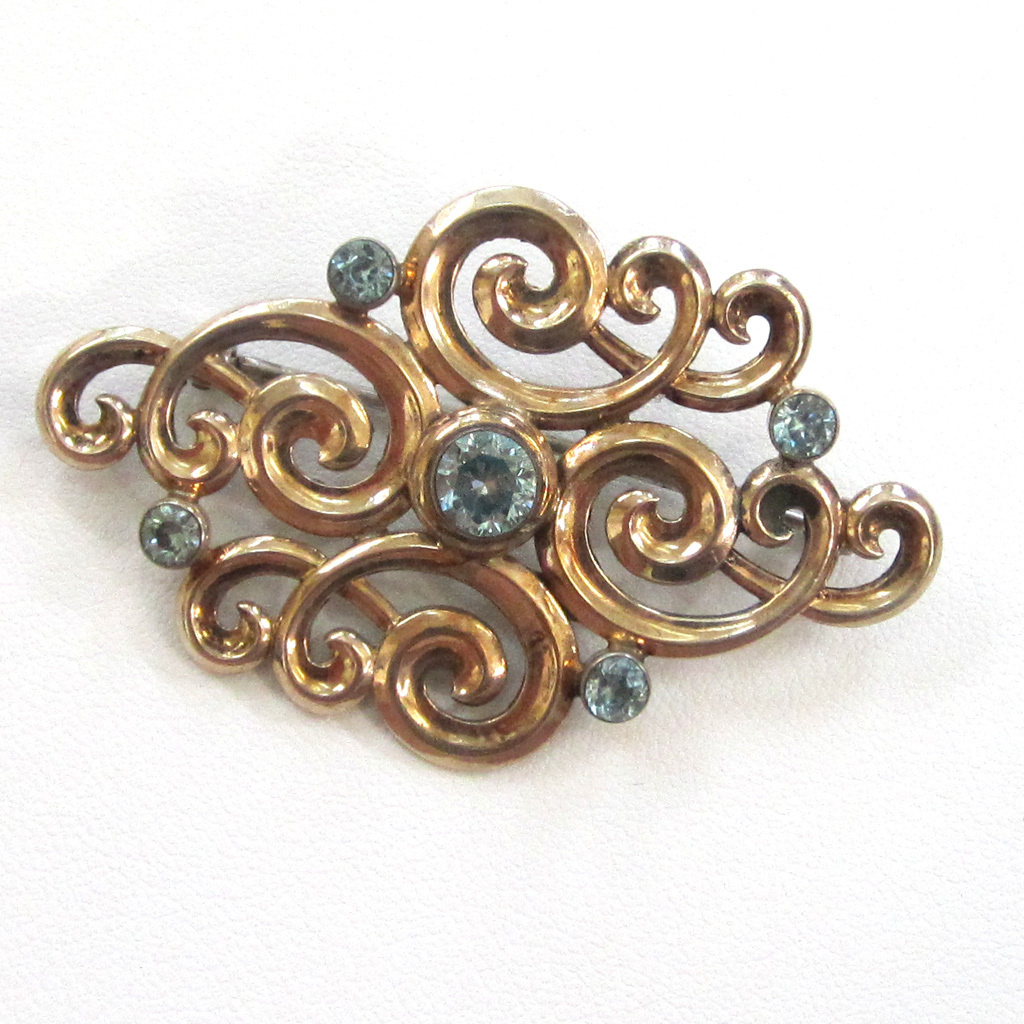 Symmetalic Sterling Silver Gold-Filled Blue Topaz Brooch/Pin