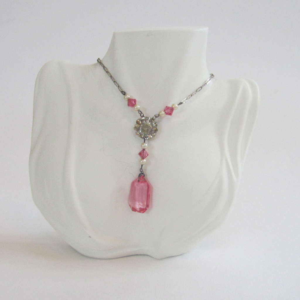 Art Deco Pink Glass Faux Pearl Floral Pendant