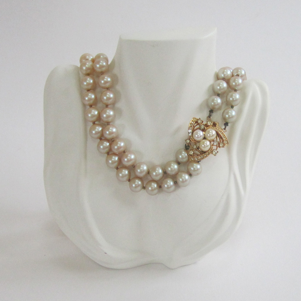 Double Strand of Faux Pearls with Rhinestone Clasp