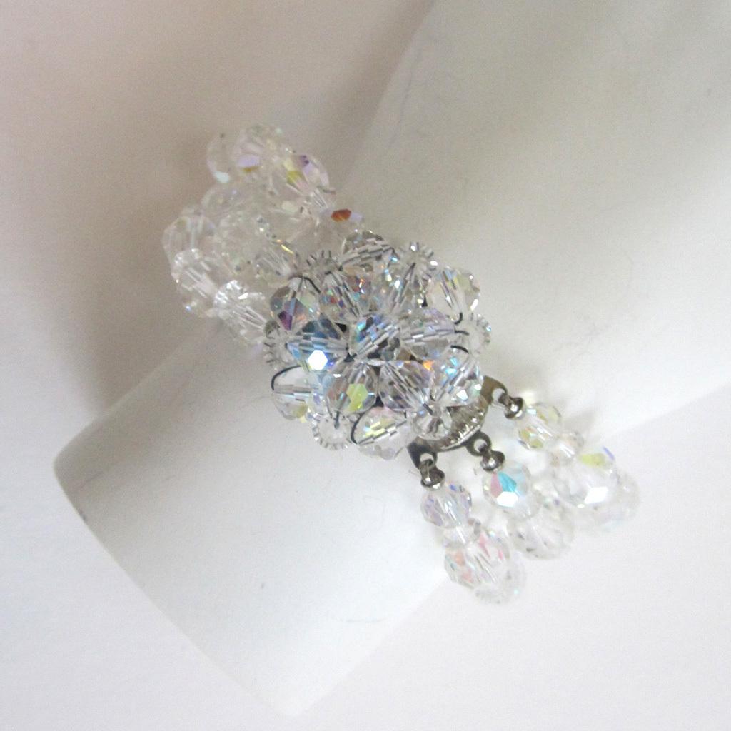 Triple-Strand Crystal Bead Bracelet