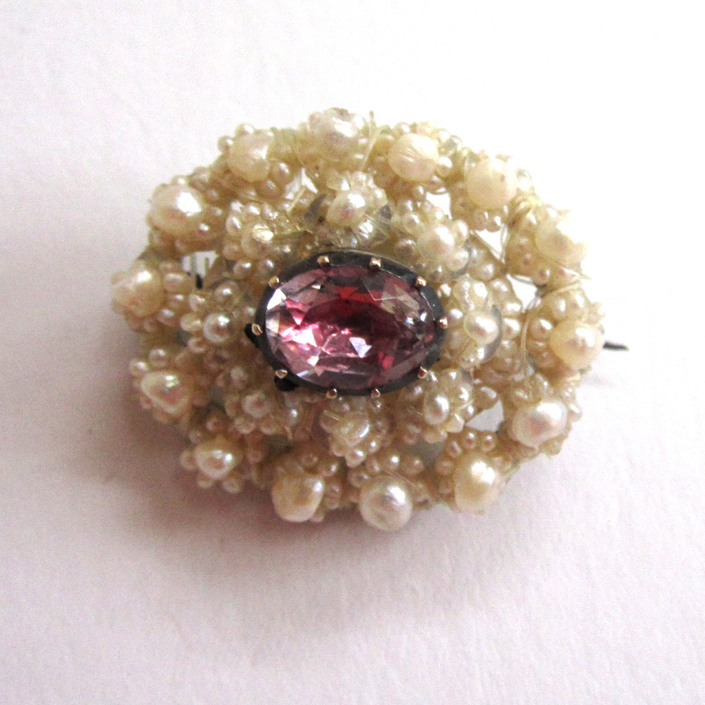 Victorian Seed Pearl Foiled Quartz Brooch/Pin
