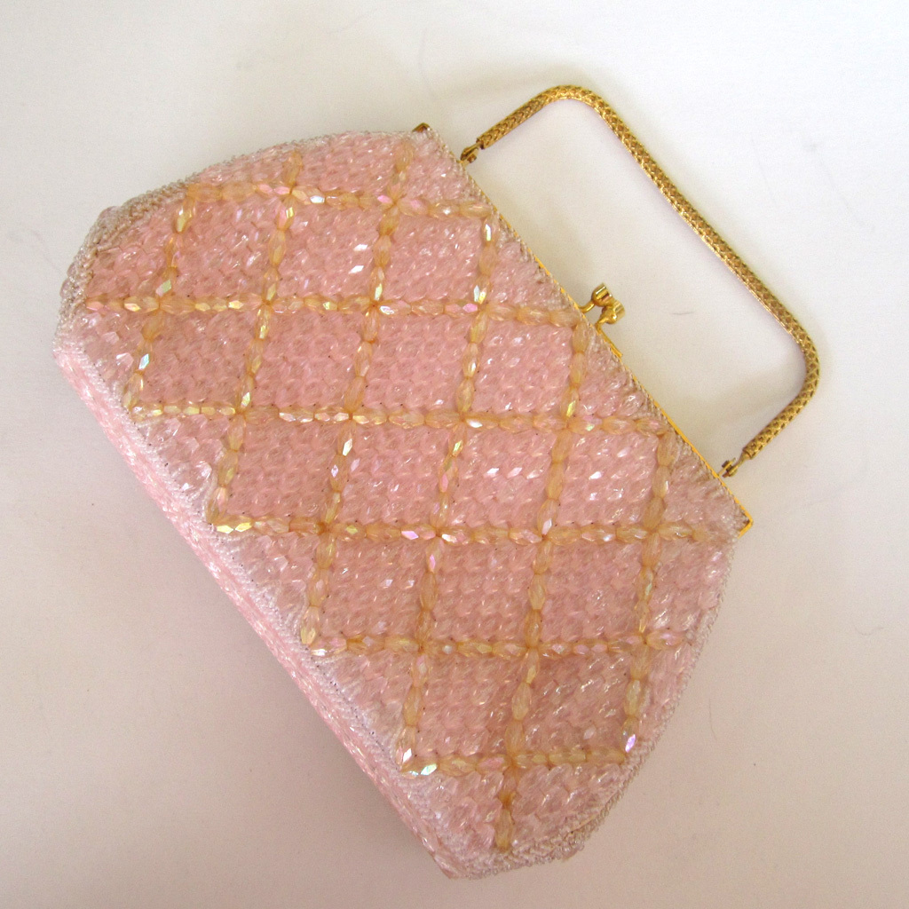 Hong Kong Made Pink Beaded Handbag