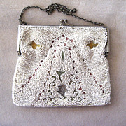 1920s European Embroidered Beaded Tambor Purse/Handbag