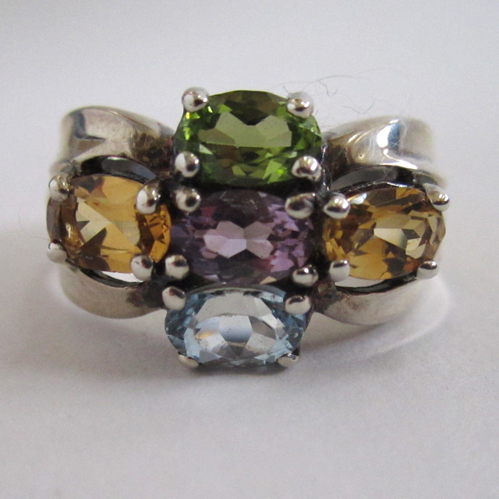 Sterling Silver Multi-Gem Ring