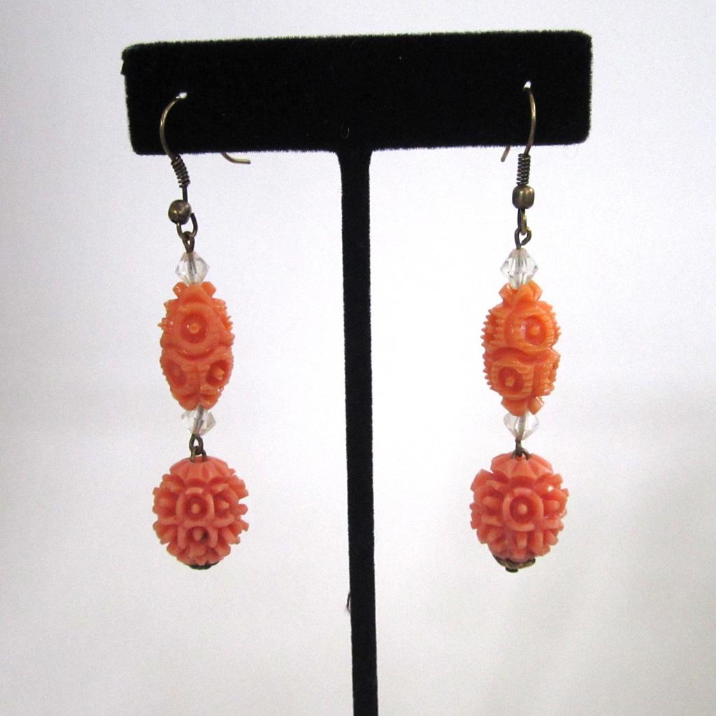 Art Deco Plastic Coral Bead Earrings