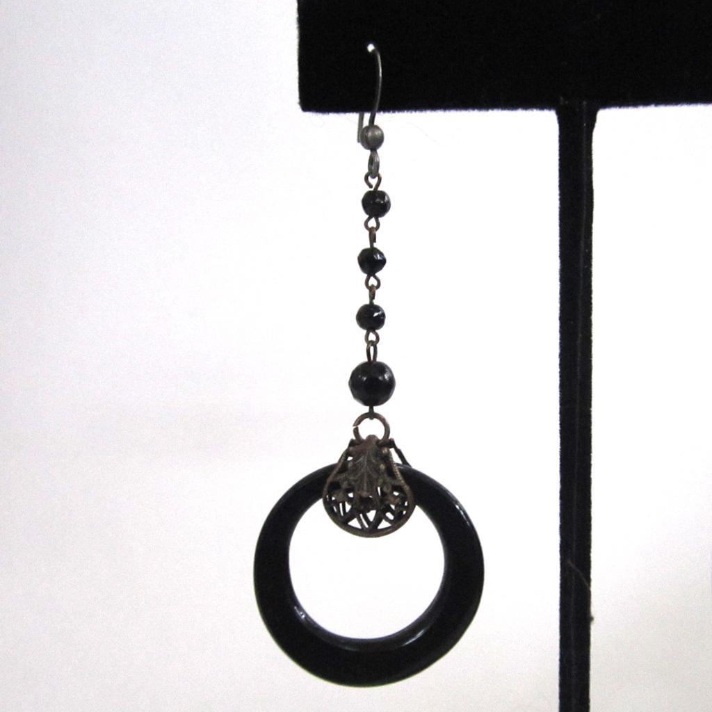 Art Deco Czechoslovakia Black Glass Hoop Dangle Earrings