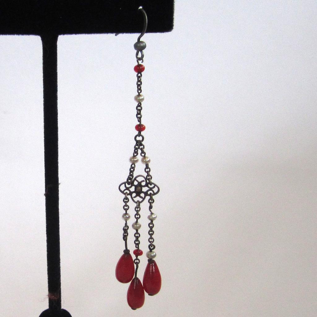 Art Deco Sterling Silver Red Glass & Faux Pearl Earrings