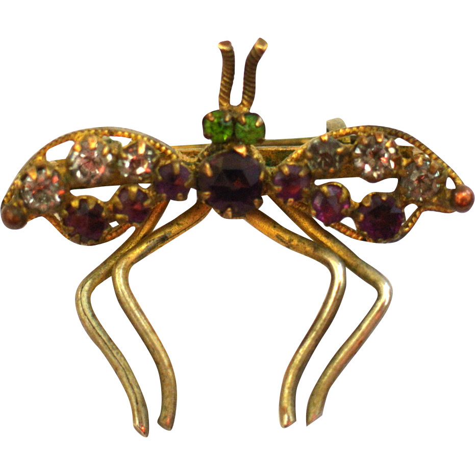 Gold-Tone Rhinestone Fly Brooch/Pin