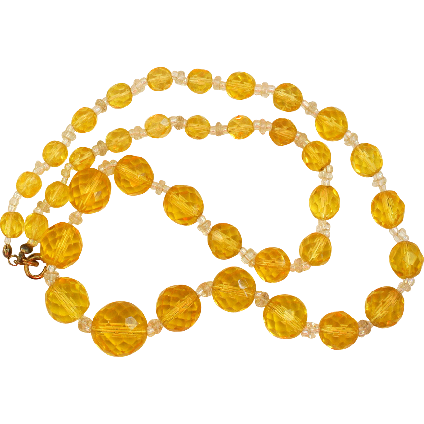 Cut Crystal Yellow Bead Necklace