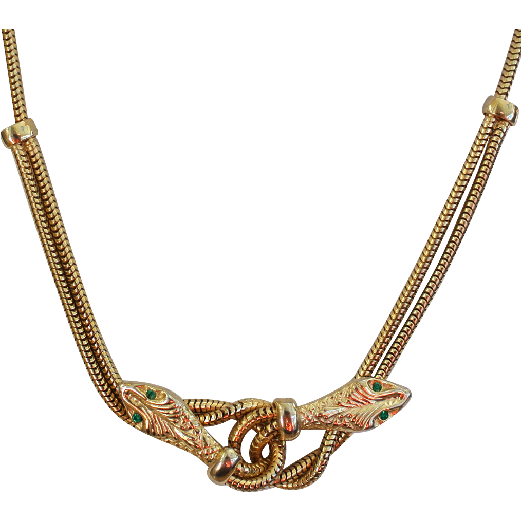 snake gold tone choker necklace from rubylane sold