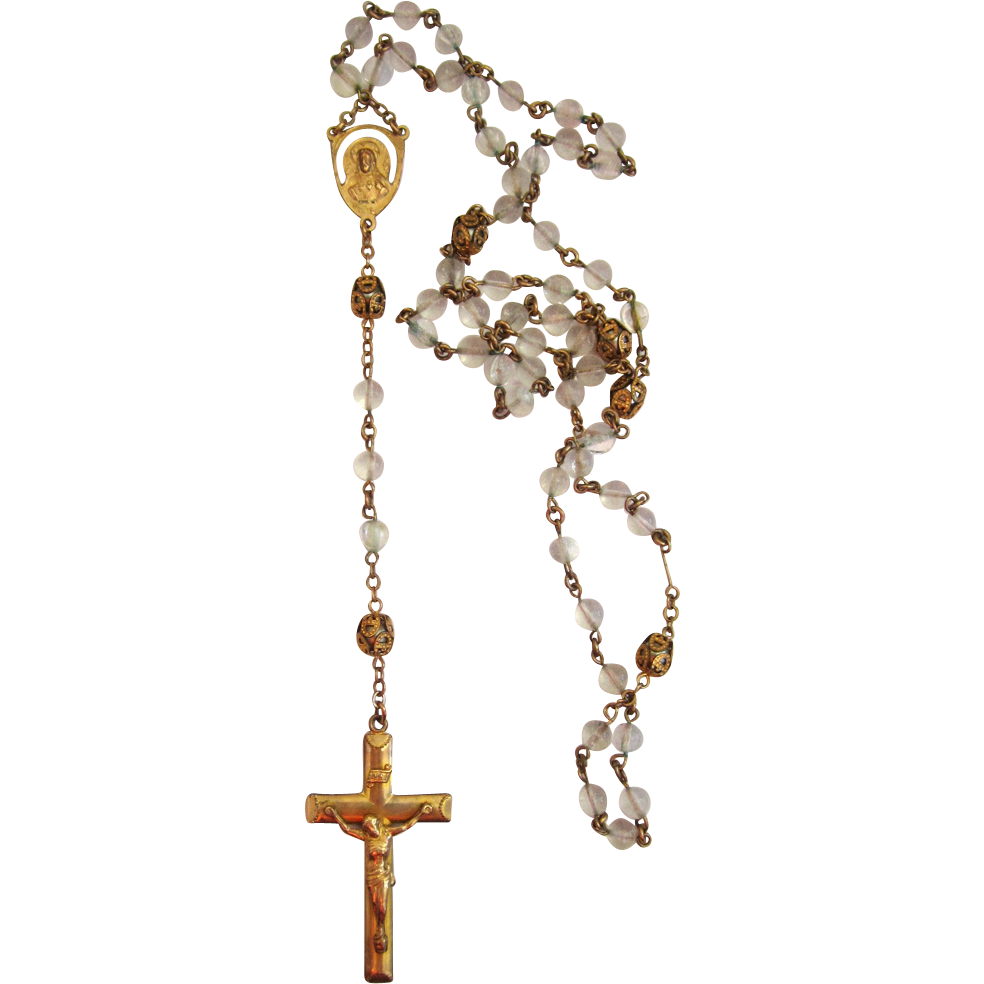 Gold-Filled Glass Bead Filigree Rosary