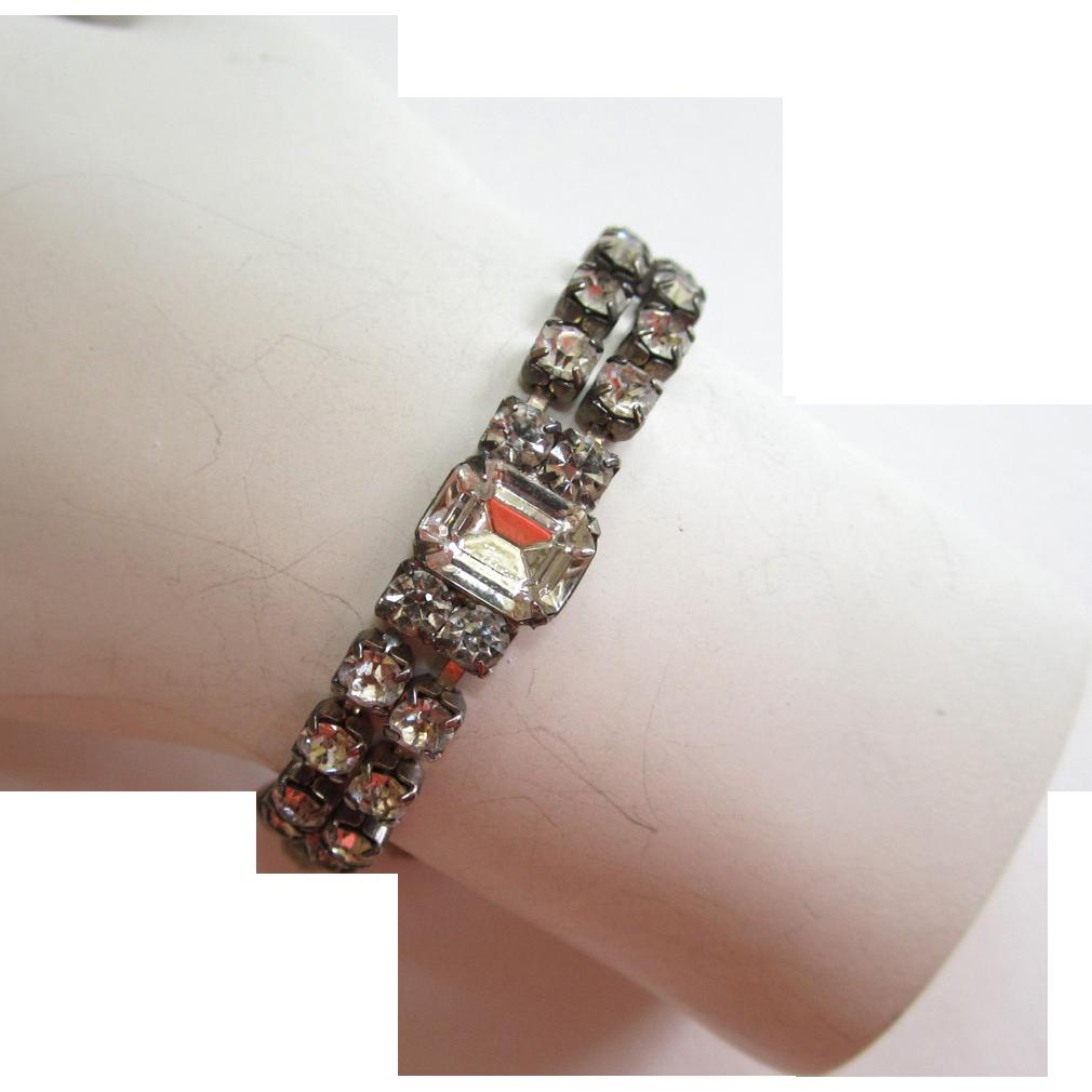 Double-Row Rhinestone Bracelet