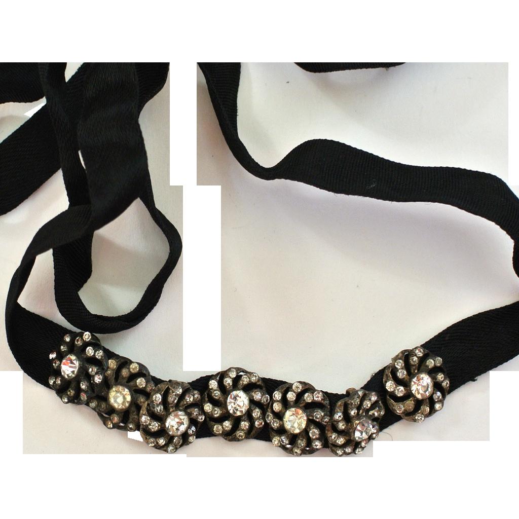 Floral Rhinestone Slide Dog Collar Choker