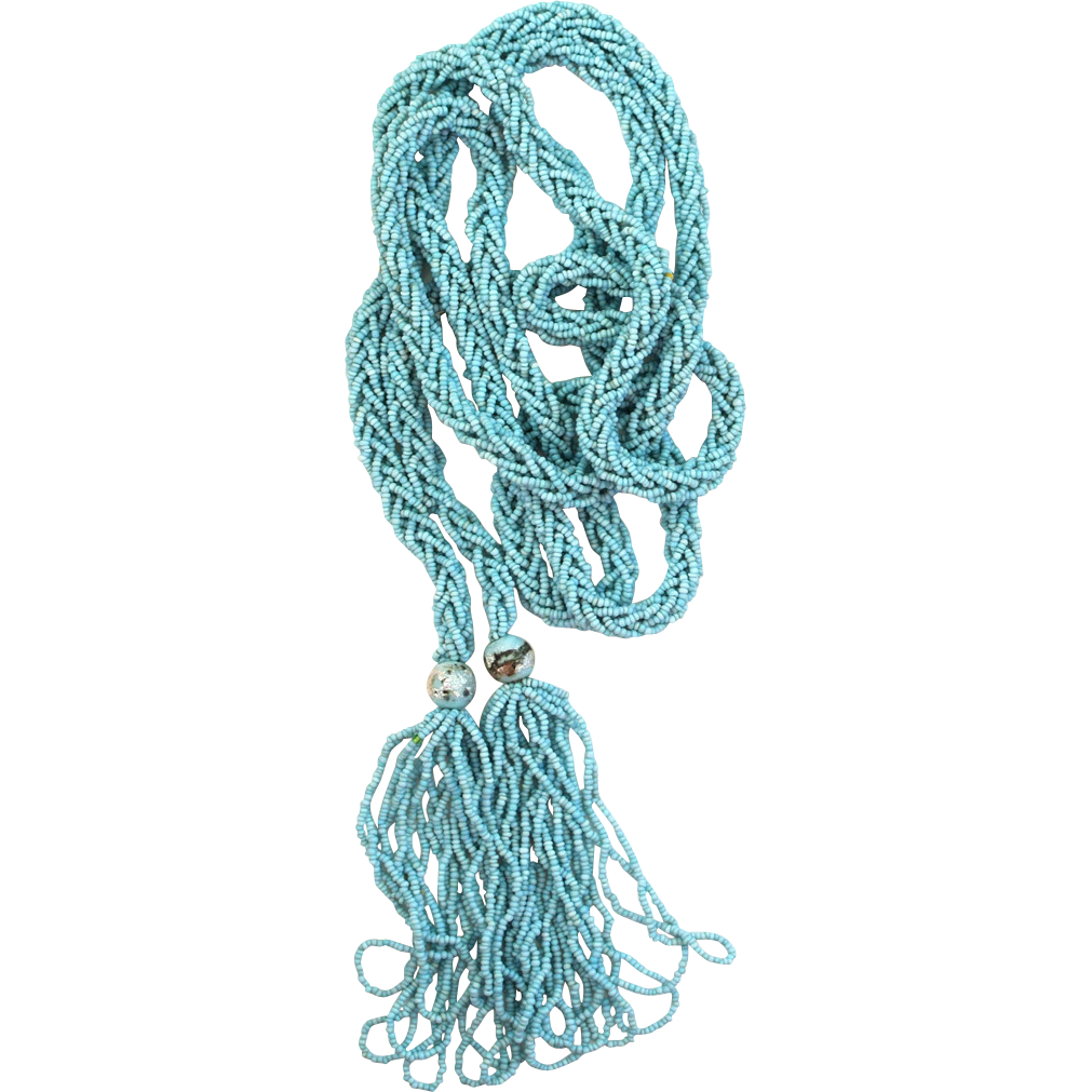 Circa 1920 Blue Seed Bead Braided Sautoir with Silvery Accents