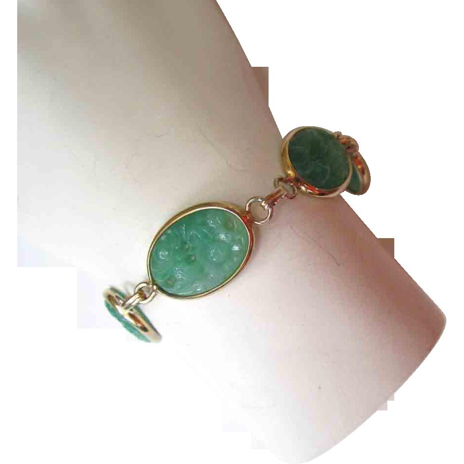 Gold-Tone Molded Green Plastic Bracelet