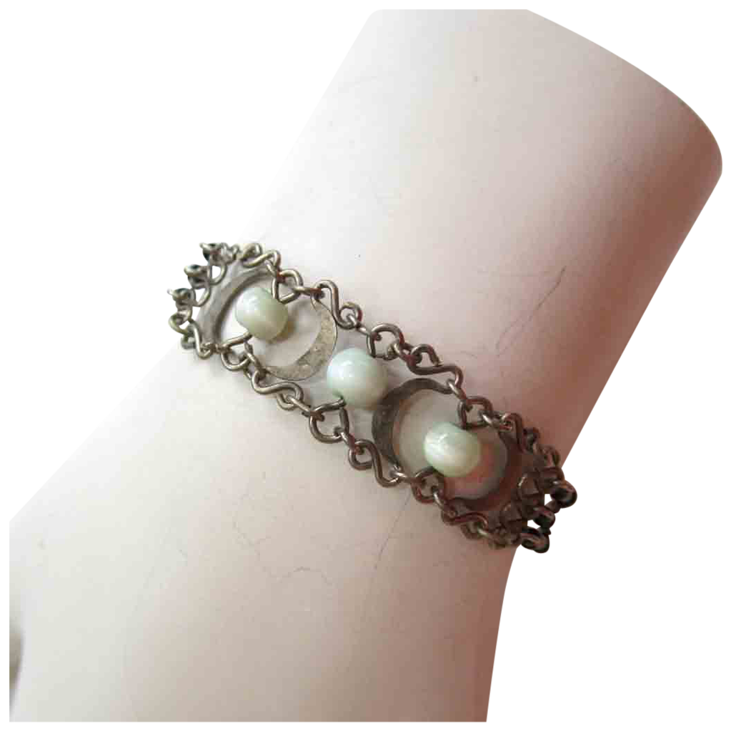 Silver-Tone Black and Green Glass Bracelet