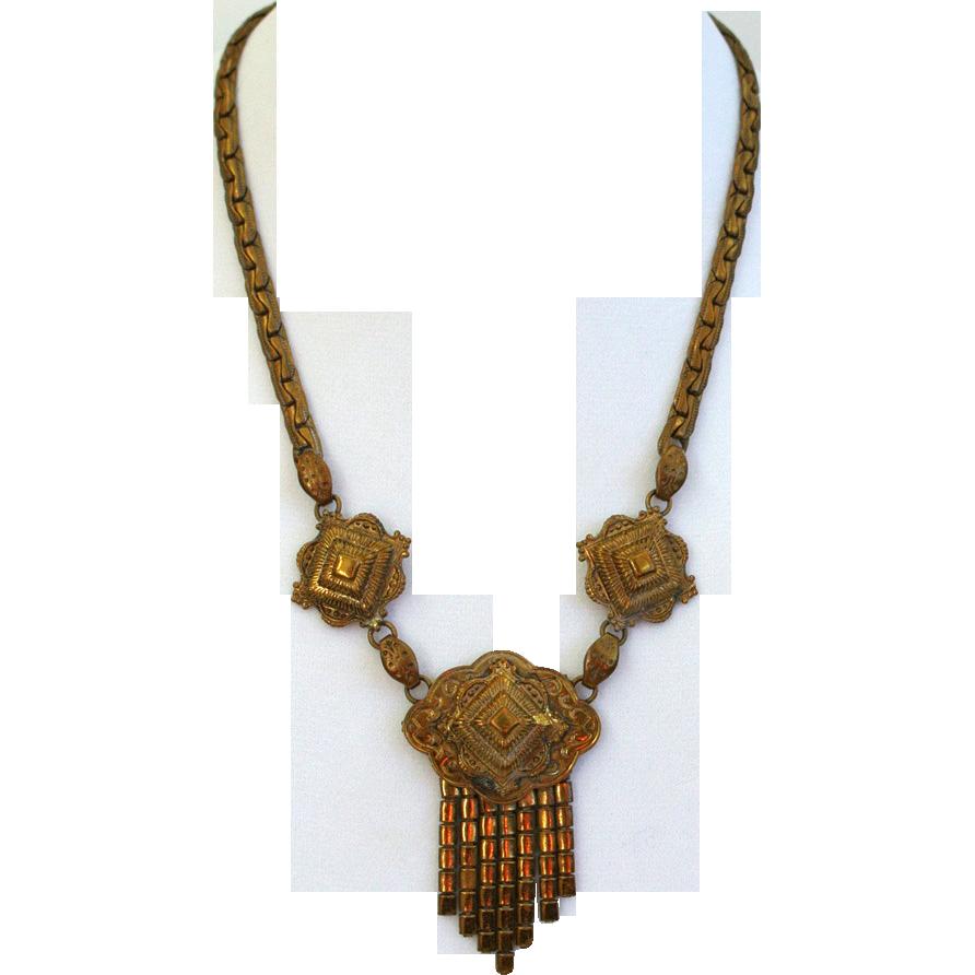 Victorian Brass Tassel Necklace
