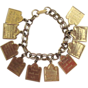 Silver-tone Ten Commandments Charm Bracelet