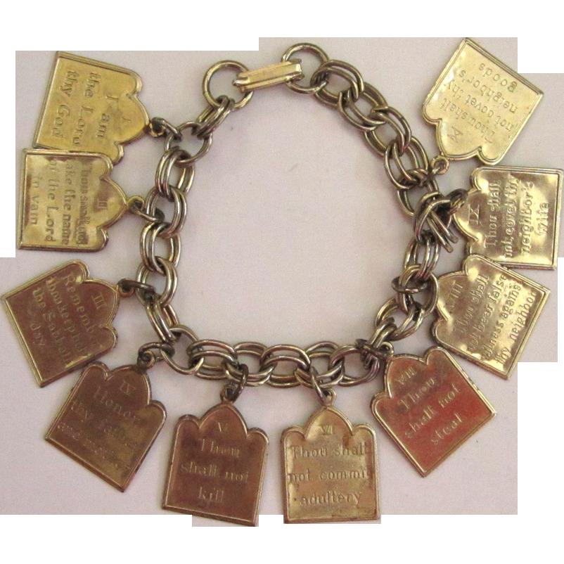 Silver-tone Ten Commandments Charm Bracelet