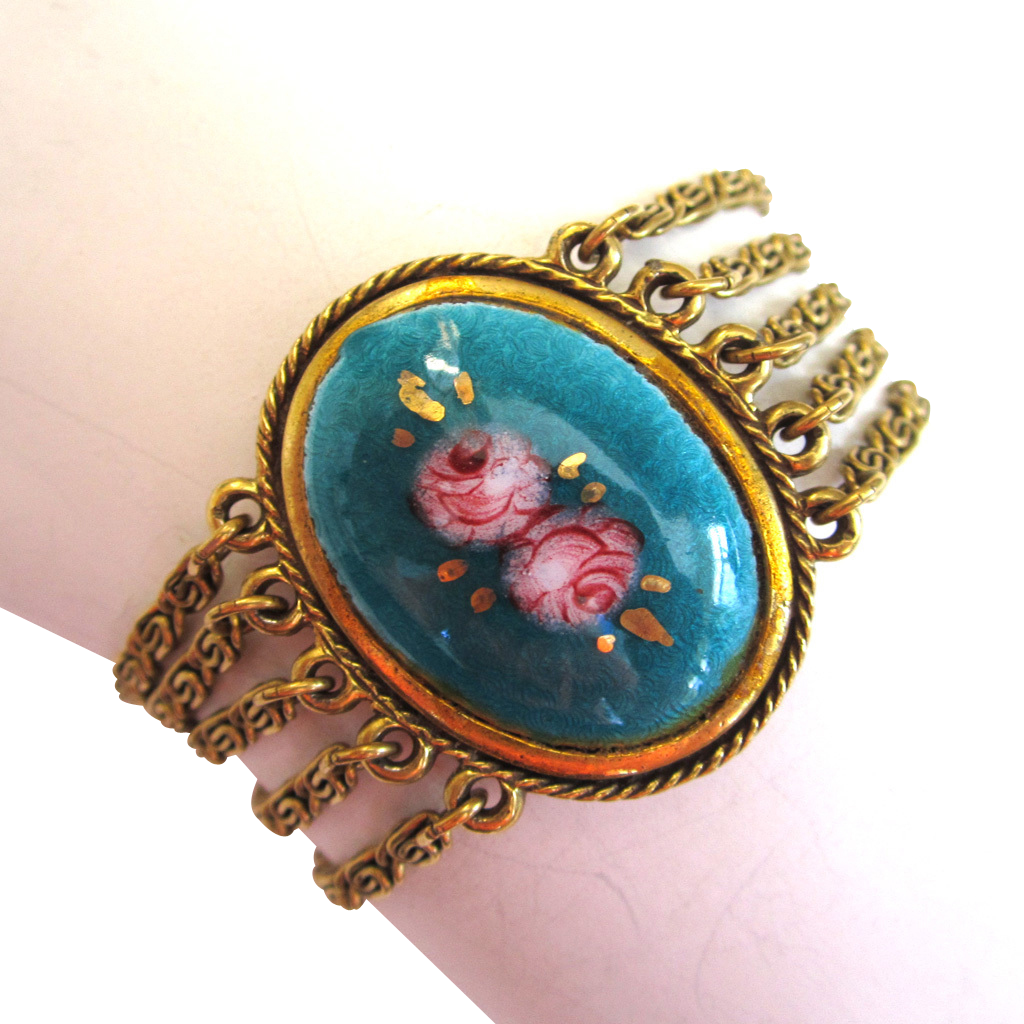 Goldette Reverse-Painted Cabbage Rose Bracelet