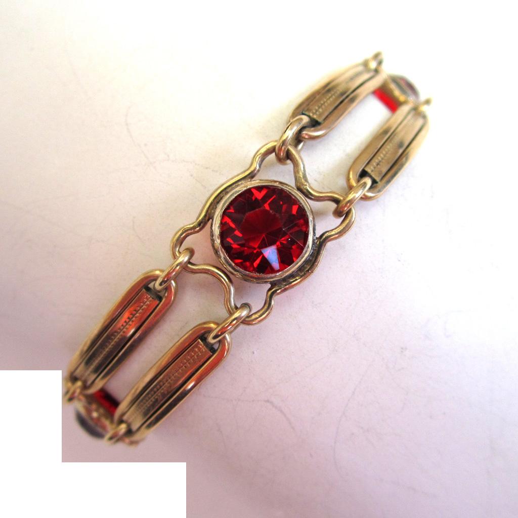 1/20 12K Gold Red Glass Double Bar Bracelet