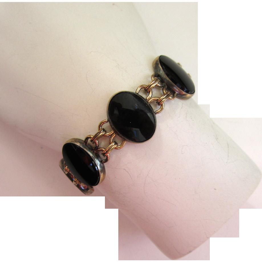 Art Deco Symmetalic 1/20 14K Onyx Bracelet