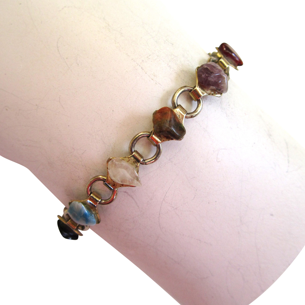 Gold-Tone Stone Pebbled Bracelet