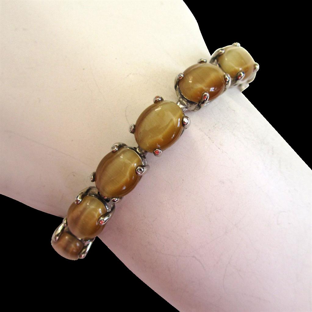 Faux Tigereye Silver-tone Bracelet