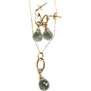 14K Yellow Gold Green Amethyst Necklace/Earrings Set