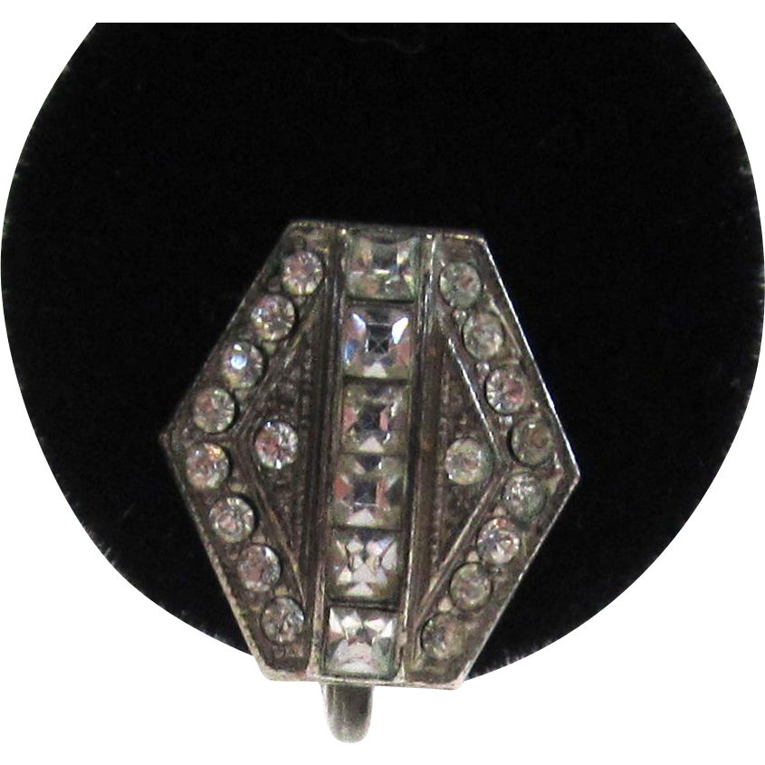 Circa 1930s Sterling Silver Paste Hexagonal Earrings