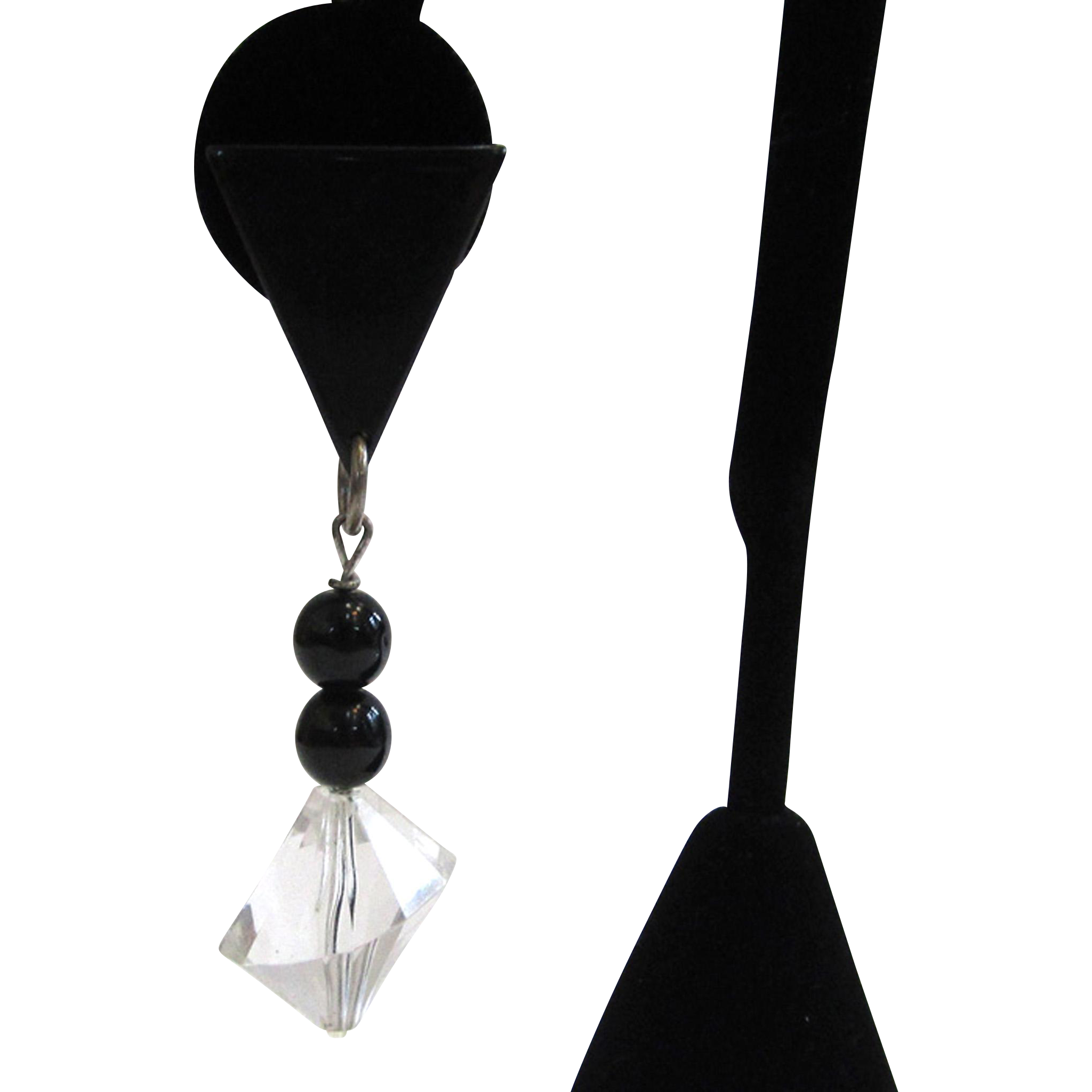 Black and Clear Lucite Architectural Drop Pierced Earrings