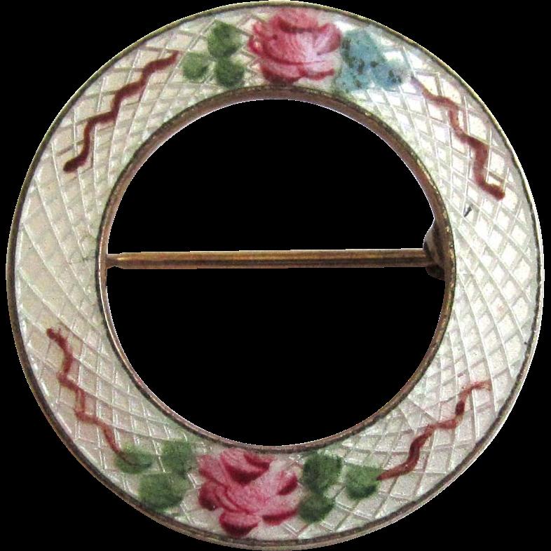 Guilloche Enamel Rose Round Brooch/Pin