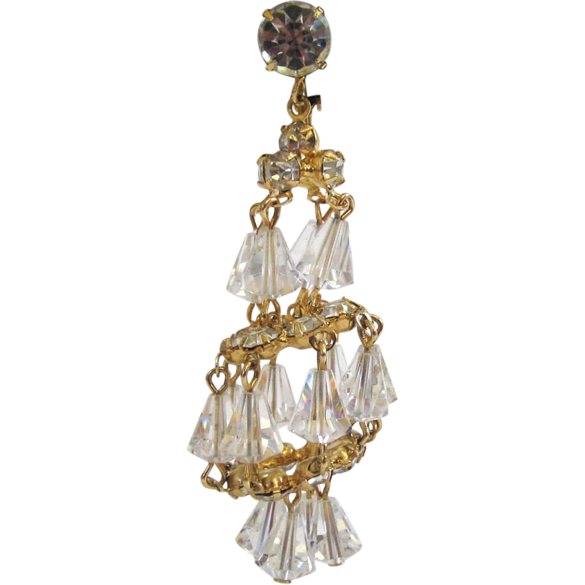 Hattie Carnegie Crystal Chandelier Earrings