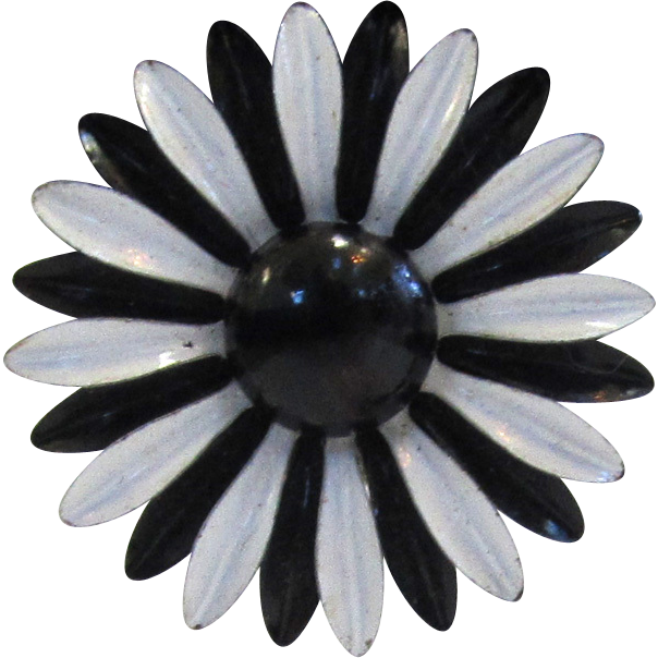 Circa 1960s Black and White Enamel Floral Earrings